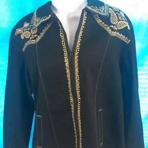 Victor Costa ZipUP Rhinestone Jacket Large New